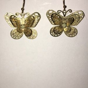 Gold Colored Butterfly Earrings